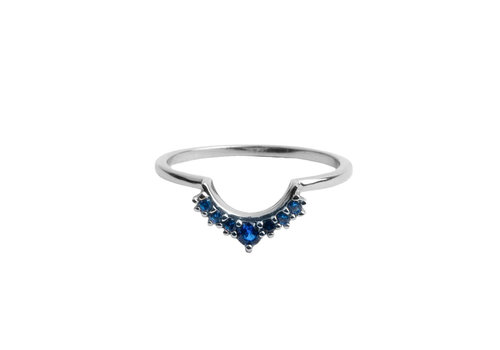 All the Luck in the World Magique Silverplated Ring Crown Blue