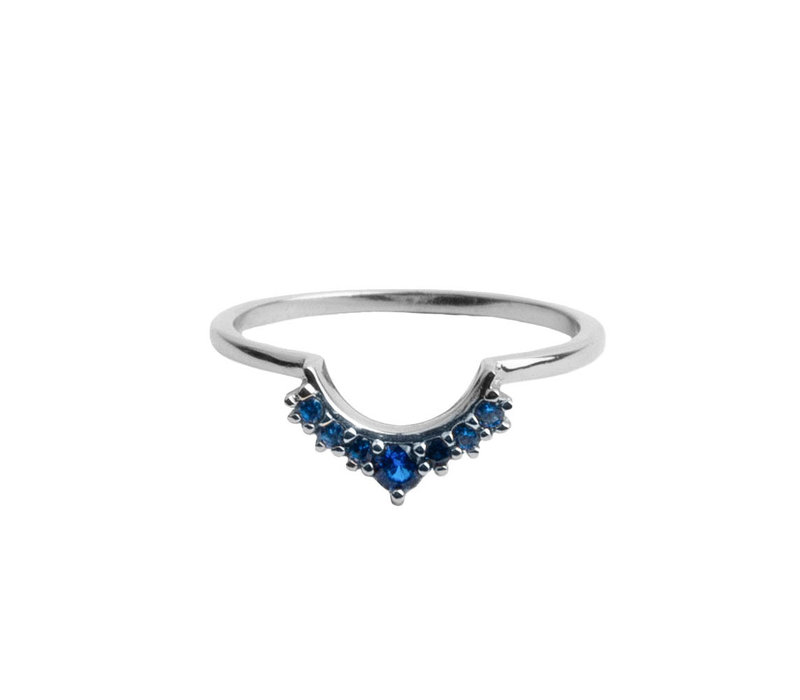Magique Silverplated Ring Kroon Blauw