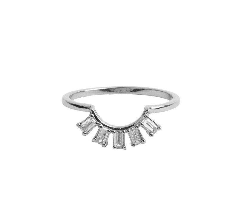 Magique Silverplated Ring Kroon Transparant