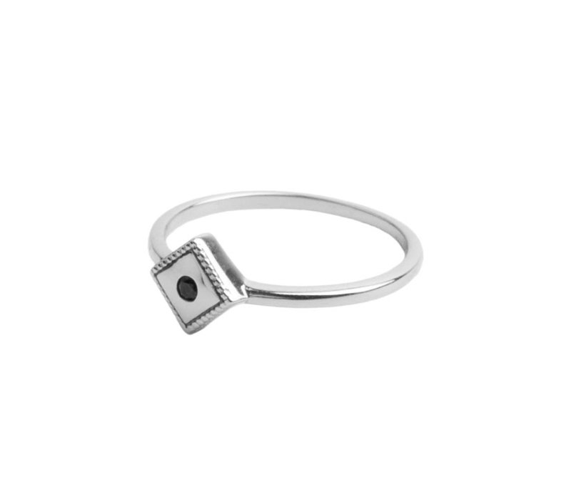 Magique Silverplated Ring Rhomb Black