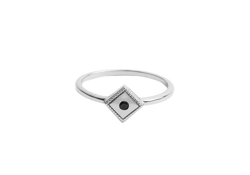 All the Luck in the World Ring Rhomb Black silver