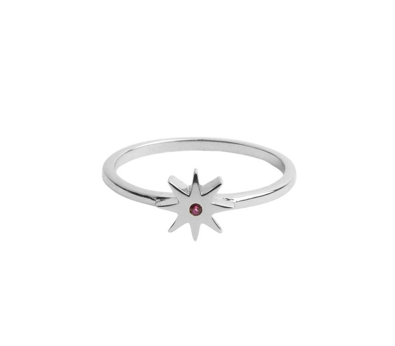 Magique Silverplated Ring Star Pink