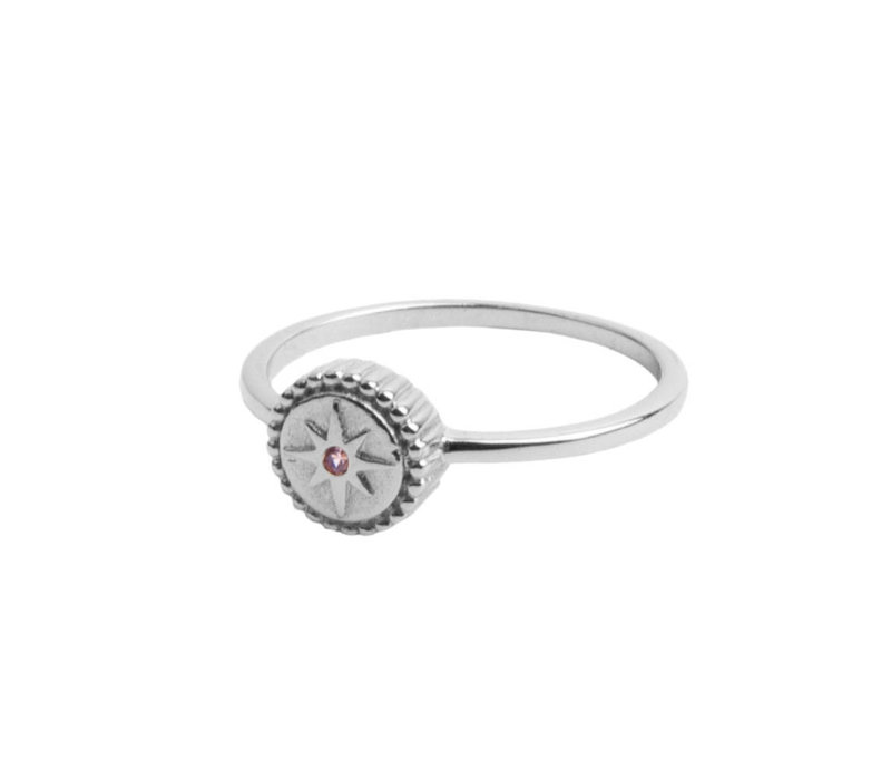 Magique Silverplated Ring Munt Starburst Roze