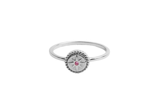 All the Luck in the World Ring Coin Starburst Pink silver