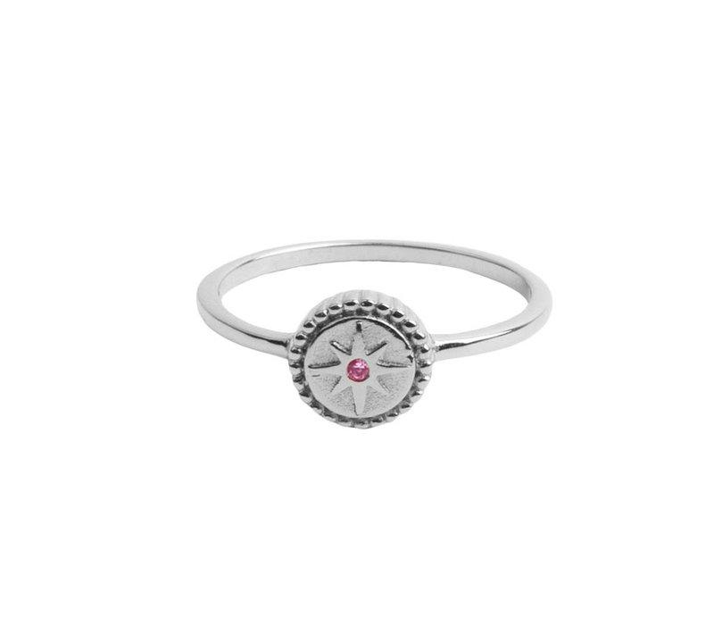 Ring Coin Starburst Pink silver