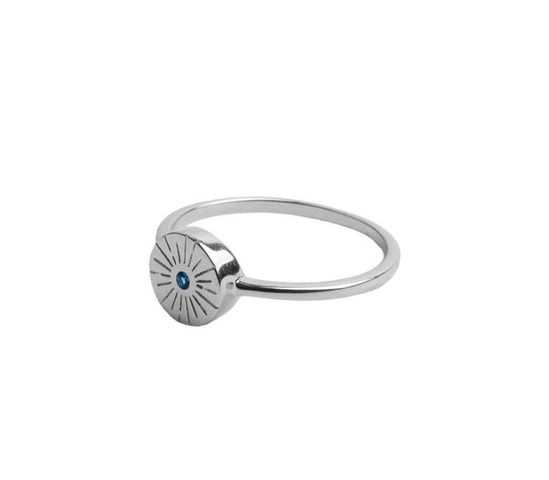 Ring Munt Burst Blauw verzilverd