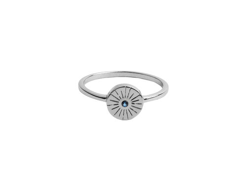 All the Luck in the World Ring Coin Burst Blue silver