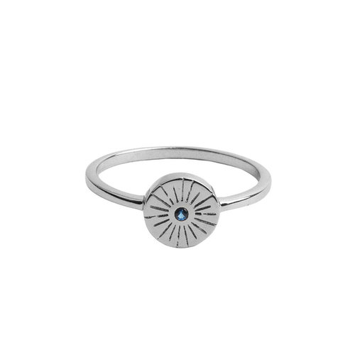 Ring Coin Burst Blue silver