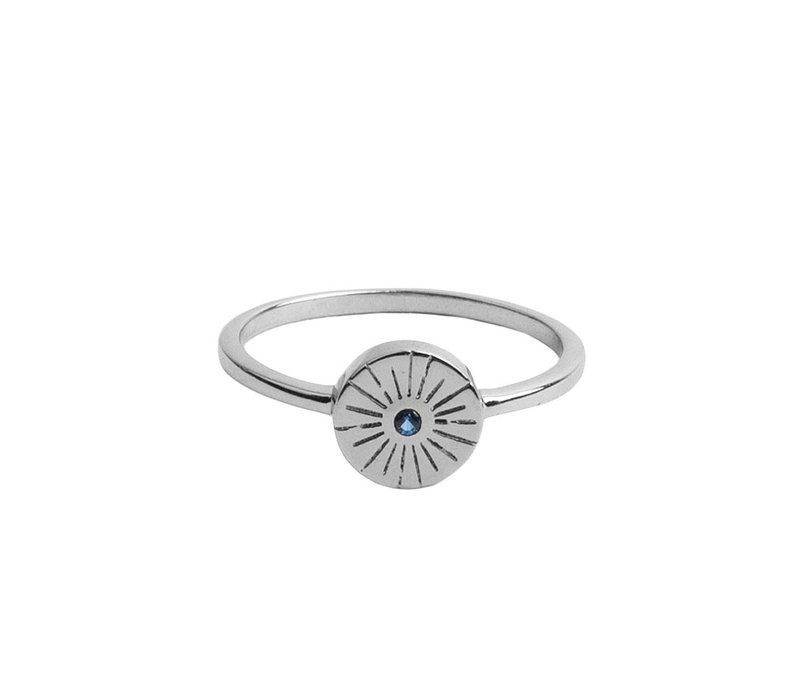 Ring Coin Burst Blue plated