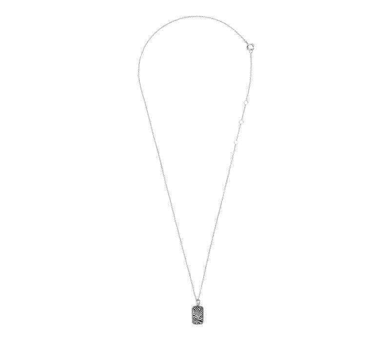 Necklace Zebra Rectangle plated