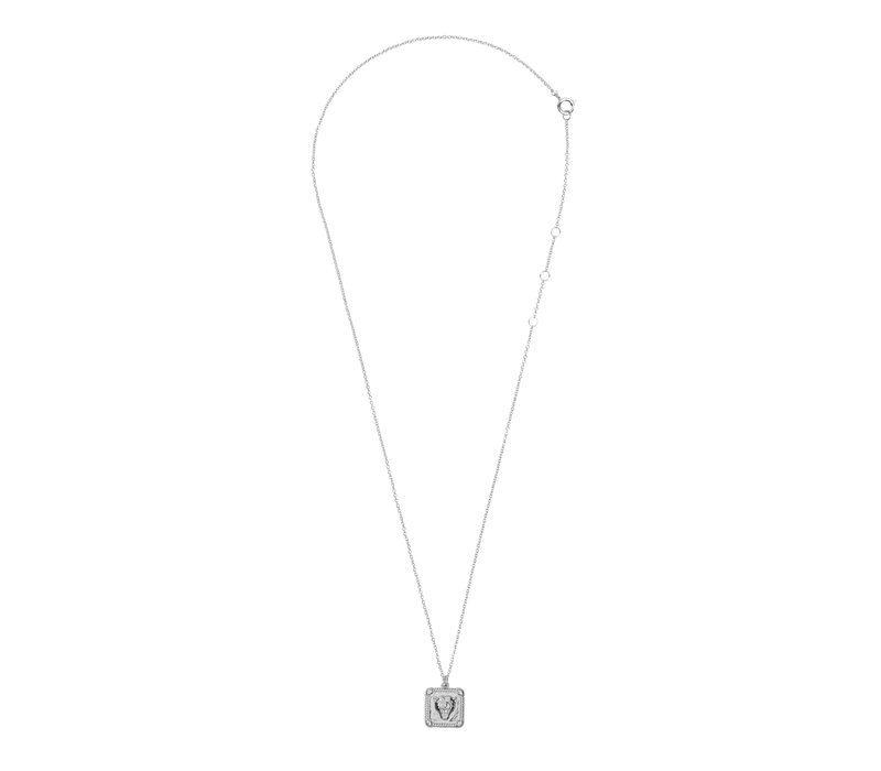 Charm Silverplated Ketting Panter Vierkant