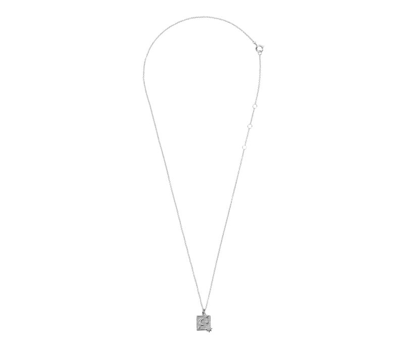 Charm Silverplated Necklace Moon Stars Square