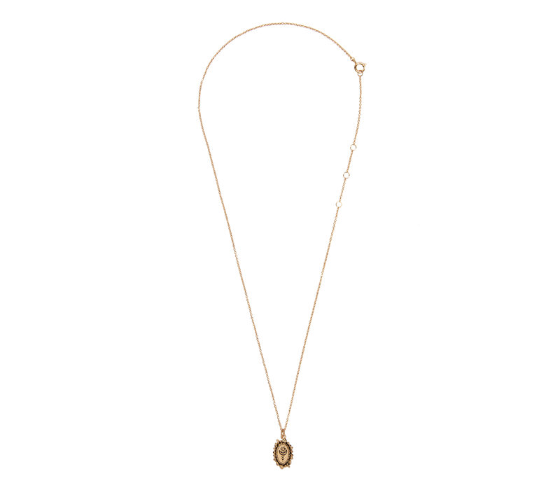 Necklace Sun Moon Oval 18K gold