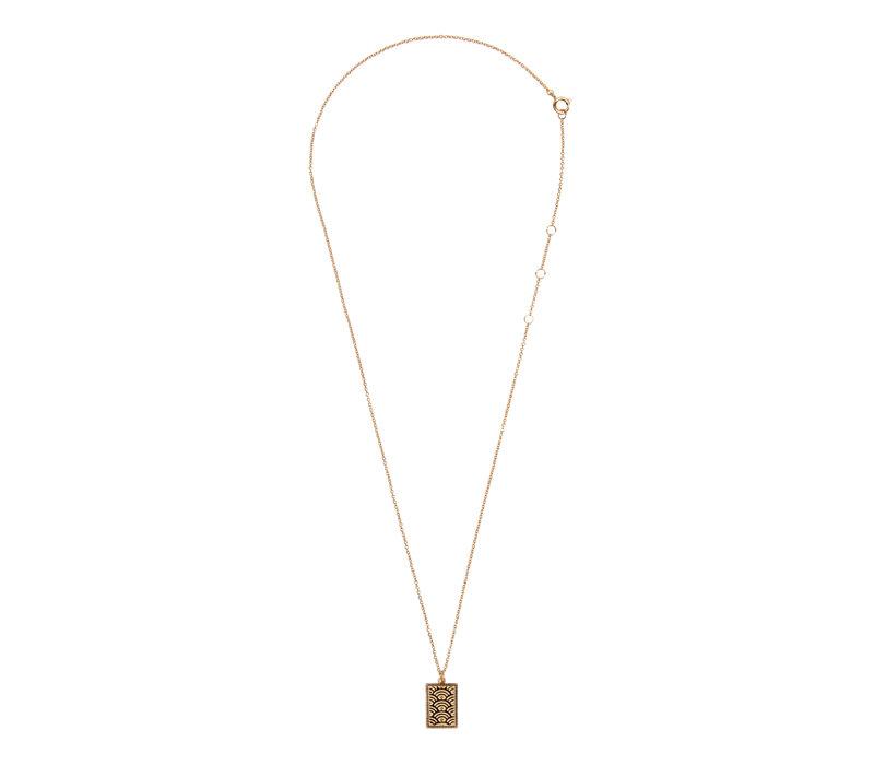 Necklace Rainbow Rectangle 18K gold