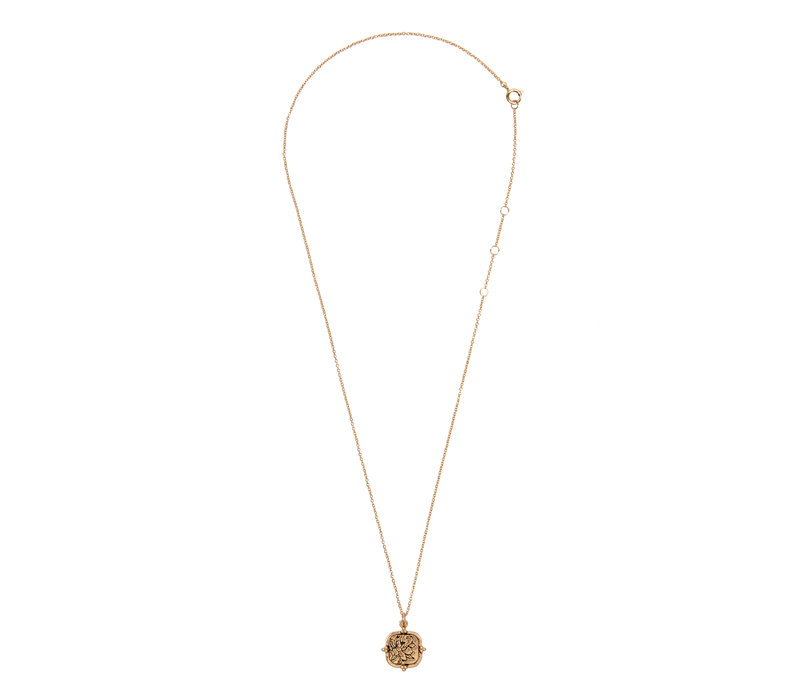Necklace Peony Square plated
