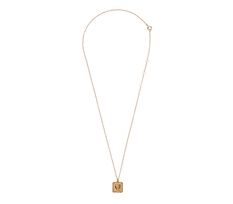 Charm Goldplated Ketting Panter Vierkant