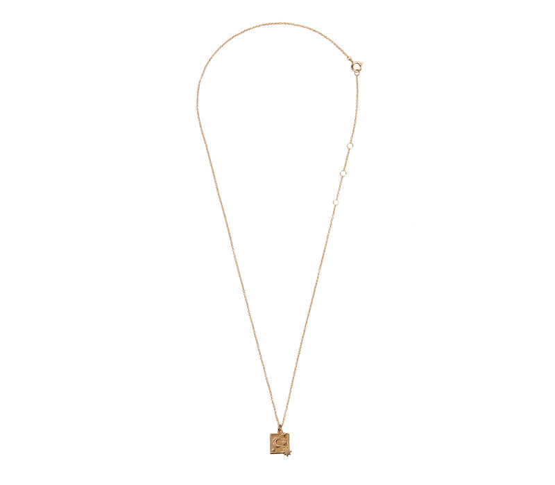 Necklace Moon Stars Square 18K gold