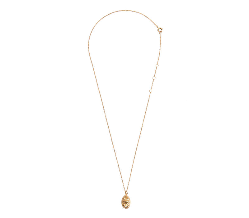 Charm Goldplated Necklace Diamond Oval