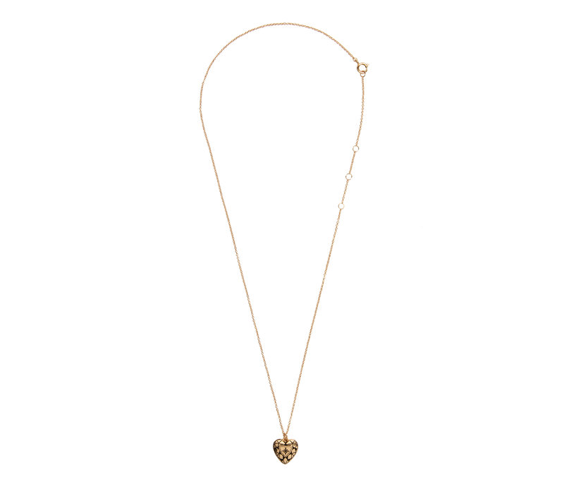 Charm Goldplated Ketting Diamant Hart