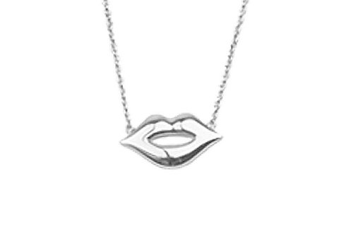 All the Luck in the World Souvenir Silverplated Necklace Lips