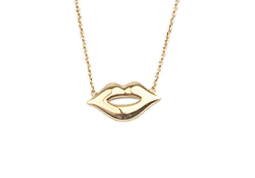 All the Luck in the World Souvenir Goldplated Necklace Lips