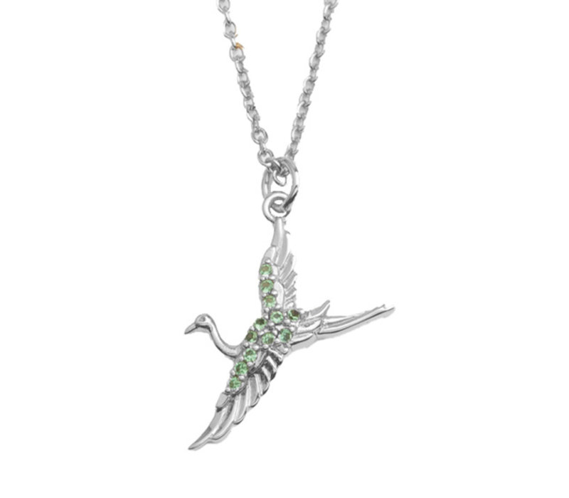 East Silverplated Ketting Kraanvogel