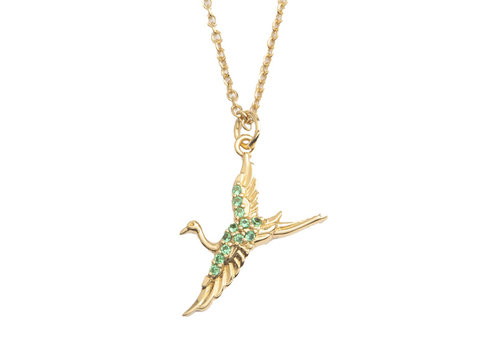 All the Luck in the World Ketting Kraanvogel 18K goud