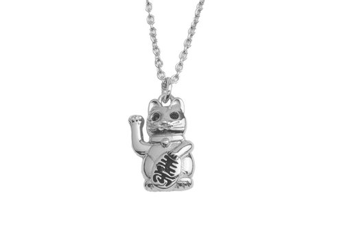 All the Luck in the World East Silverplated Necklace Lucky Cat