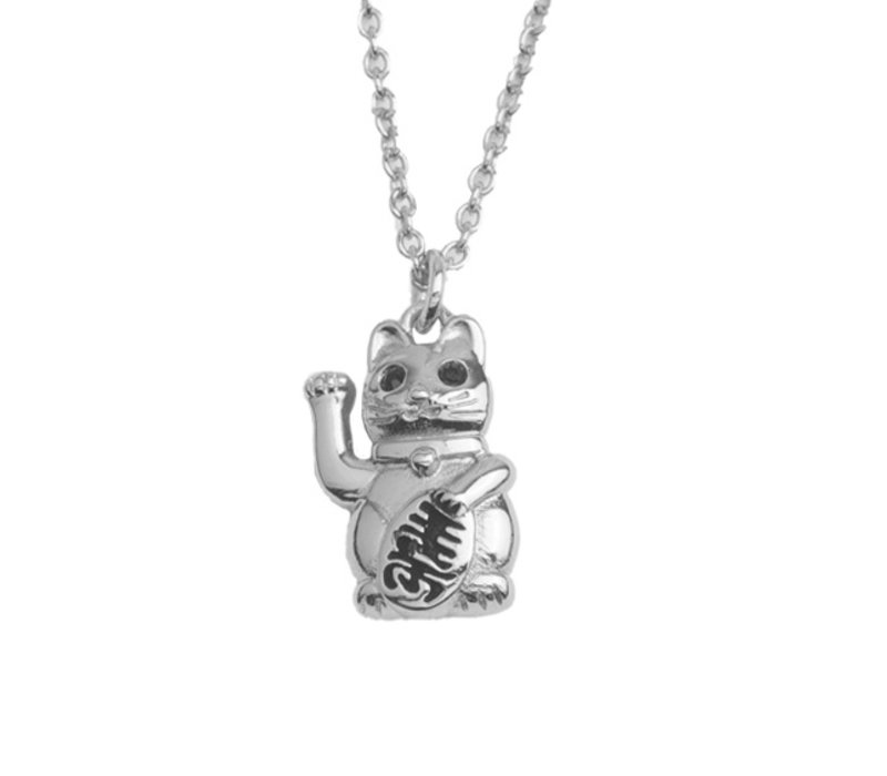 East Silverplated Necklace Lucky Cat