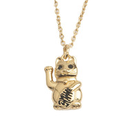 Necklace Lucky Cat plated