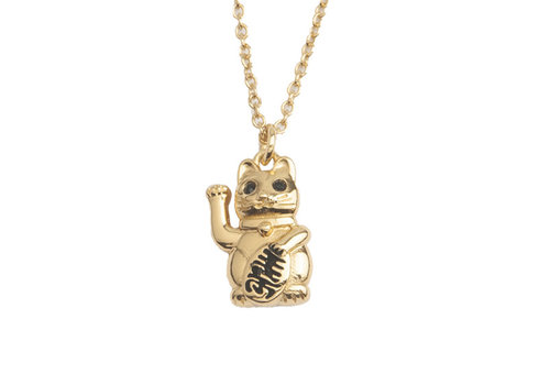 All the Luck in the World East Goldplated Necklace Lucky Cat