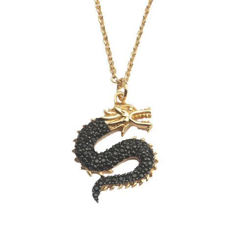 East Goldplated Necklace Big Dragon