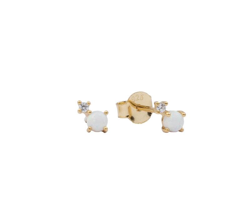 Oorbellen Twee Stippen opal wit transparant verguld