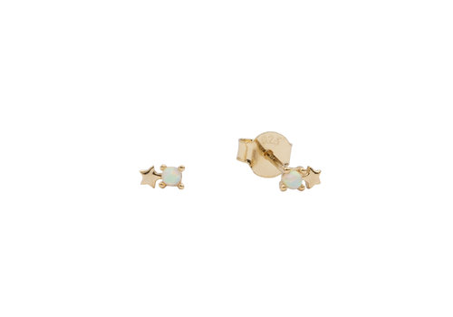 All the Luck in the World Earrings Dots Star opal white 18K gold