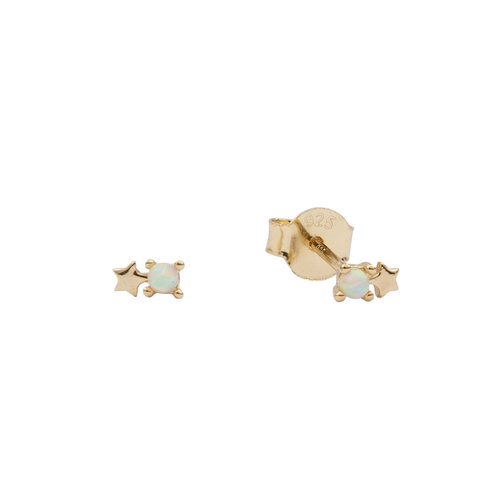Moonlight Goldplated Sterling Silver Earrings Dots Star opal white