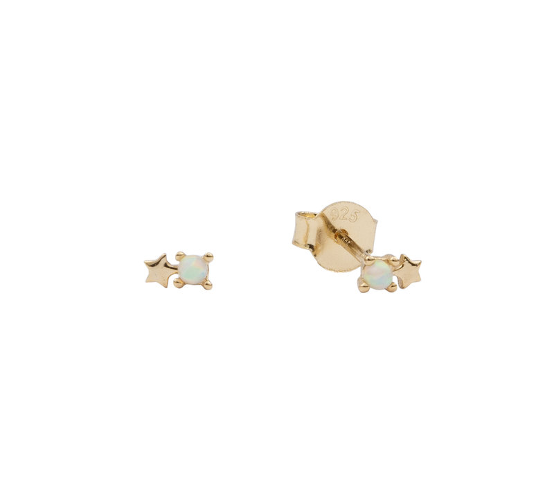 Earrings Dots Star opal white plated