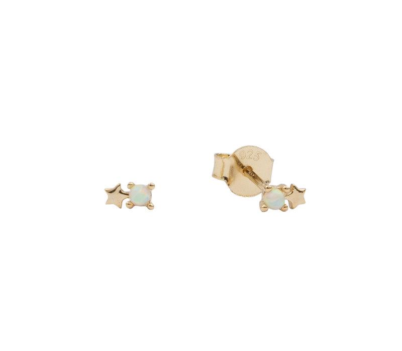 Oorbellen Stippen Ster opal wit 18K goud