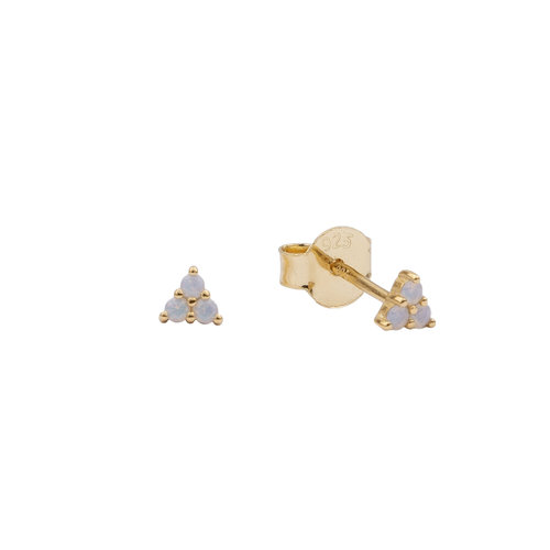 Moonlight Goldplated Sterling Silver Earrings Triangle Dots white