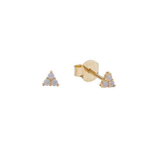 Oorbellen Driehoek Stippen wit 18K goud