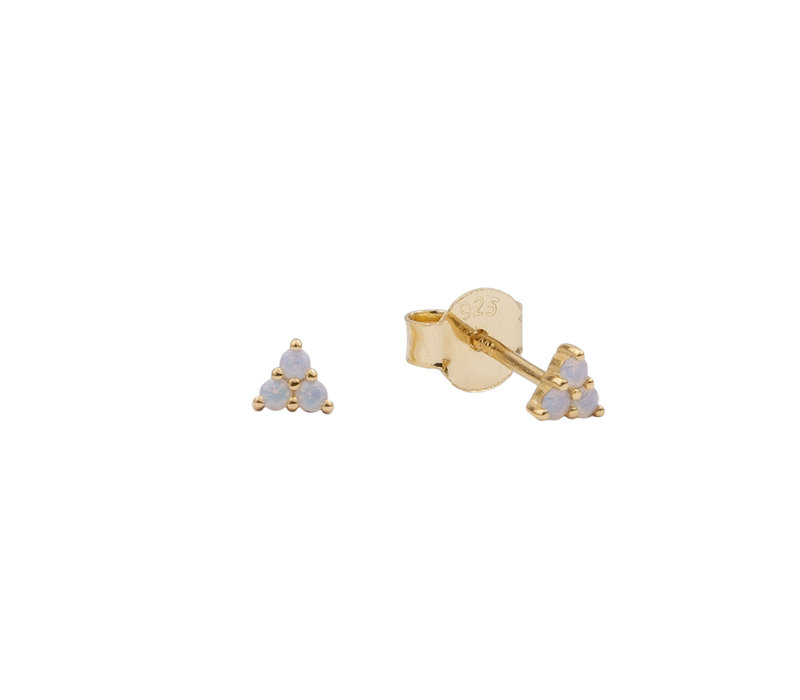 Earrings Triangle Dots white plated