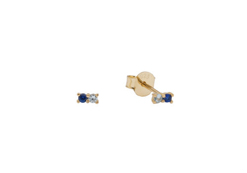 All the Luck in the World Earrings Two Dots dark blue all clear 18K gold