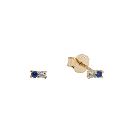 Oorbellen Twee Stippen donkerblauw transparant 18K goud