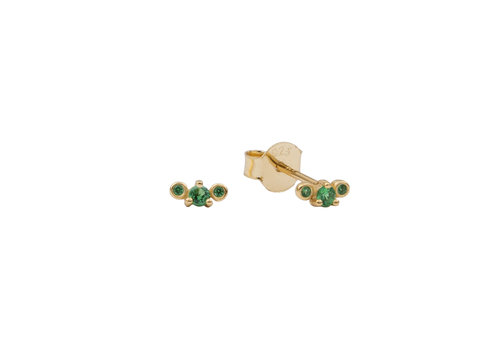 All the Luck in the World Moonlight Goldplated Sterling Silver Earrings Three Dots green
