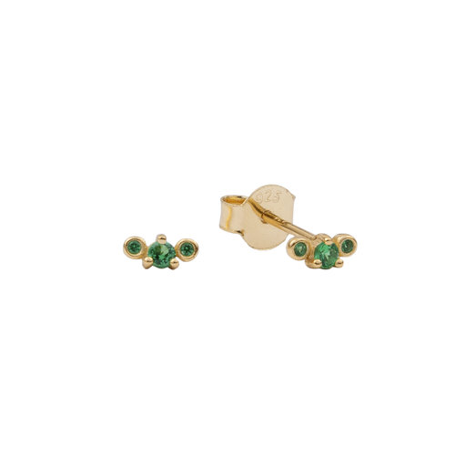 Moonlight Goldplated Sterling Silver Earrings Three Dots green
