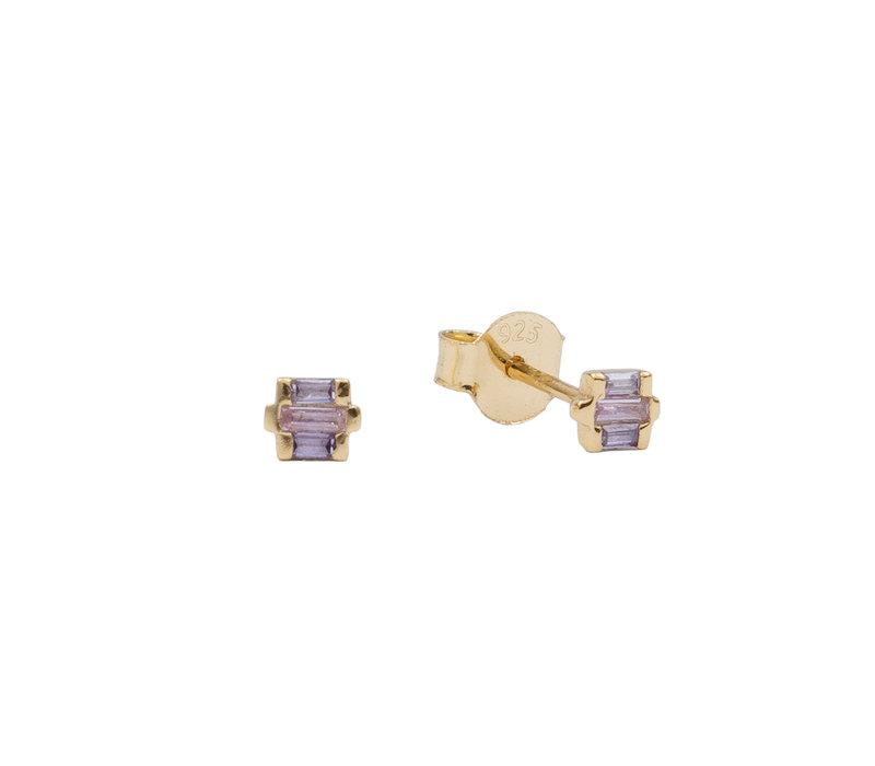 Earrings Rectangle lila 18K gold