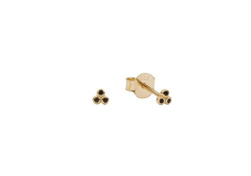 All the Luck in the World Earrings Three Dots black  18K gold