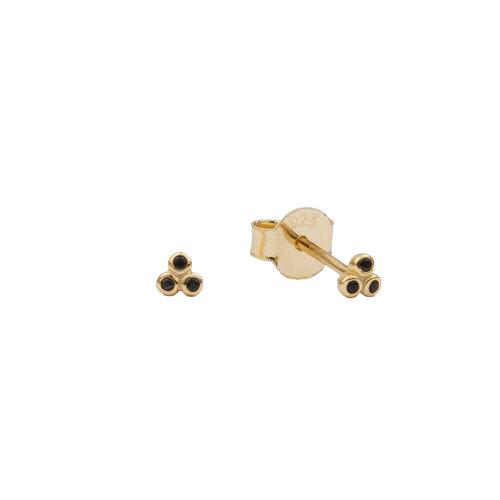 Earrings Three Dots black  18K gold