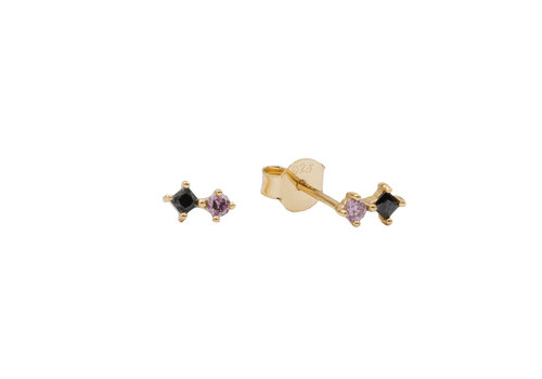 All the Luck in the World Earrings Two Squares black pink 18K gold