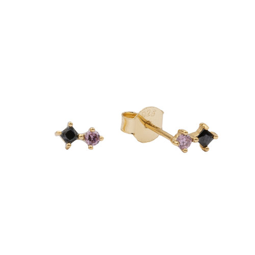 Moonlight Goldplated Sterling Silver Earrings Two Squares black pink