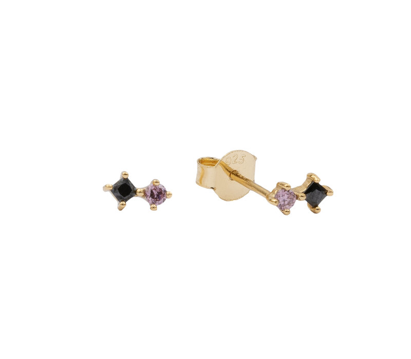 Earrings Two Squares black pink 18K gold